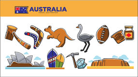 Australia travel destination poster with national symbols set. Australia travel destination vector illustration. Musical instruments, wooden boomerang, cute royalty free illustration