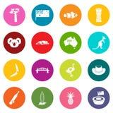 Australia Travel Icons Many Colors Set Royalty Free Stock Photo