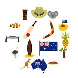 Australia travel icons set in flat style. Isolated vector illustration Stock Photos