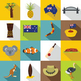 Australia travel icons set, flat style Royalty Free Stock Image
