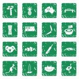 Australia travel icons set grunge. Australia travel icons set in grunge style green isolated vector illustration Royalty Free Stock Photos