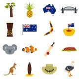 Australia Travel Icons Set In Flat Style Royalty Free Stock Image