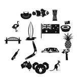 Australia travel icons set, simple style. Australia travel icons set. Simple illustration of 16 Australia travel vector icons for web Royalty Free Illustration