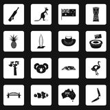 Australia travel icons set squares vector Royalty Free Stock Photography
