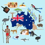 Australia travel illustration. Australia illustration on the blue background, Vector illustration Stock Illustration