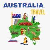 Australia Travel Map Poster Royalty Free Stock Photos