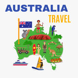 Australia Travel Map Poster Royalty Free Stock Image