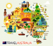 Australia Travel Set. Map of the Australia and Travel Icons. Australia Travel Map. Vector Illustration Stock Photos