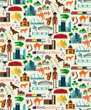 Australia Travel Set. Australia Travel Seamless Pattern. Australia Travel Map. Vector Illustration Royalty Free Stock Photos