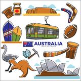 Australia travelling map with destinations and animals Stock Images