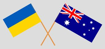 Australia and Ukraine. The Australian and Ukrainian flags. Official colors. Correct proportion. Vector. Illustrationn royalty free illustration