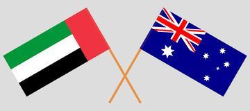 Australia and United Arab Emirates. The Australian and UAE flags. Official colors. Correct proportion. Vector. Illustrationn royalty free illustration