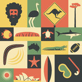 Australia, vector flat illustration, icon set, landmark. Man, ostrich, road sign, tree, fish, mountain, turtle, shark. Australia, vector flat illustration, icon stock illustration