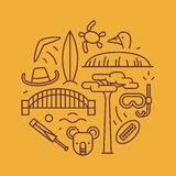 Australia, vector outline illustration, pattern. boomerang, hat, serf, bridge, cricket, koala, tree Baobab, sport. Australia, vector outline illustration royalty free illustration