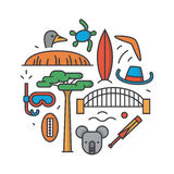 Australia, vector outline illustration, pattern, white background: boomerang, hat, serf, bridge, cricket, koala, tree. Australia, vector outline illustration royalty free illustration