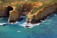 Australia, VIC, Great Ocean Road. Australia, VIC, aerial view from Thunder Cave and Blow Hole on Great Ocean Road in Port Campbell National Park Stock Image