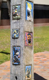 Australia, VIC, Echuca,. Echuca, Australia - January 21, 2008: Artwork on wooden column from unknow artist in tiny village in Victoria Royalty Free Stock Photos