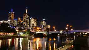 Australia, Victoria, Melbourne downtown and Yarra river at night time. Space for text. Australia, Victoria, Melbourne downtown and Yarra river at night. Space royalty free stock image