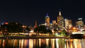 Australia, Victoria, Melbourne downtown and Yarra river at night time. Space for text. Australia, Victoria, Melbourne downtown and Yarra river at night. Space stock photos