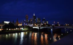 Australia, Victoria, Melbourne, night scene. Australia, night scene of CBD Melbourne with Princes bridge of Yarra river royalty free stock photo