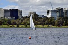 Australia, Victoria, Melbourne, Albert Park. Australia, sailing boat in Albert Park Lake in Melbourne stock image