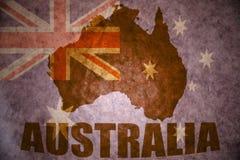 Australia vintage  map. Australia map on a vintage australian flag background Stock Photos