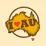 Australia Vintage Map Damaged Classic Yellow With Dust And Scratches Royalty Free Stock Images