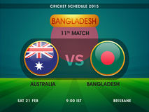 Australia vs Bangladesh Cricket match schedule 2015. Royalty Free Stock Image