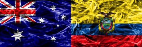 Australia vs Ecuador colorful smoke flag made of thick smoke. Australia vs Ecuador colorful smoke flag made of thick smoke royalty free stock image