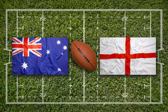 Australia vs. England flags on rugby field Stock Images