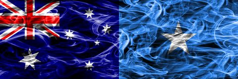 Australia vs Somalia colorful smoke flag made of thick smoke. Australia vs Somalia colorful smoke flag made of thick smoke stock image