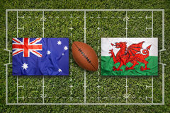 Australia vs. Wales flags on rugby field Stock Photos