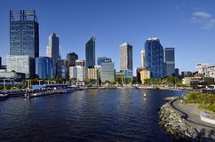 Australia, WA, Perth CBD. Perth, WA, Australia - November 27, 2017: Skyline from Perth on Swan river with different buildings and Spanda sculpture on Elizabeth royalty free stock photos
