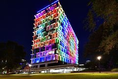 Australia, WA, Perth, illuminated council house. Perth, WA, Australia - November 30, 2017: Council House - colorful illuminated during Christmas time royalty free stock images