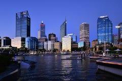 Australia, WA, Perth on evening. Perth, WA, Australia - November 30, 2017: Night scene with skyline on Elizabeth Quay on Swan River stock photos