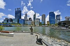 Australia, WA, Perth. Perth, WA, Australia - November 27, 2017: Skyline from Perth with different buildings and sculpture of Bessie Mabel Rischbieth, a former royalty free stock photo