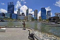 Australia, WA, Perth. Perth, WA, Australia - November 27, 2017: Skyline from Perth with different buildings and sculpture of Bessie Mabel Rischbieth, a former royalty free stock images