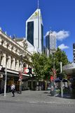 Australia, WA, Perth CBD. Perth, WA, Australia - November 30, 2017: Unidentified people and buildings in Hay Street Mall, a pedestrian zone in the capital of royalty free stock images