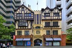Australia, WA, Perth. Perth, WA, Australia - November 28, 2017: Unidentified people and entrance with chiming clock into London Court, preferred arcade for stock image