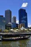 Australia, WA, Perth CBD. Perth, WA, Australia - November 30, 2017: Venetian gondola, carousel and buildings on Elezabeth Quay in the capital from Western royalty free stock image
