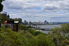 Australia, WA, Perth, pejza? miejski z ?ab?dzi? rzek? obrazy royalty free