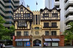 Australia, WA, Perth. Perth, WA, Australia - November 28, 2017: Unidentified people and entrance with chiming clock into London Court, preferred arcade for stock images