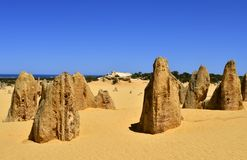Australia, WA, The Pinnacles in Nambung National Park. Preferred tourist attraction and natural landmark, Indian ocean in background stock photography