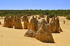 Australia, WA, The Pinnacles in Nambung National Park. Preferred tourist attraction and natural landmark stock photos