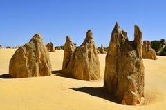 Australia, WA, The Pinnacles in Nambung National Park. Preferred tourist attraction and natural landmark stock photography