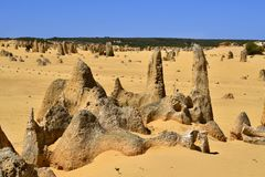 Australia, WA, The Pinnacles in Nambung National Park. Preferred tourist attraction and natural landmark stock images