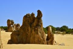 Australia, WA, The Pinnacles in Nambung National Park. Preferred tourist attraction and natural landmark stock photo