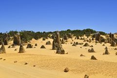 Australia, WA, The Pinnacles in Nambung National Park. Preferred tourist attraction and natural landmark royalty free stock photography