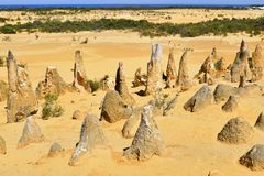 Australia, WA, The Pinnacles in Nambung National Park. Preferred tourist attraction and natural landmark, Indian ocean in background royalty free stock image