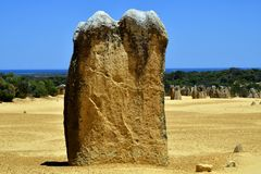 Australia, WA, The Pinnacles in Nambung National Park. Preferred tourist attraction and natural landmark, Indian ocean in background royalty free stock photos